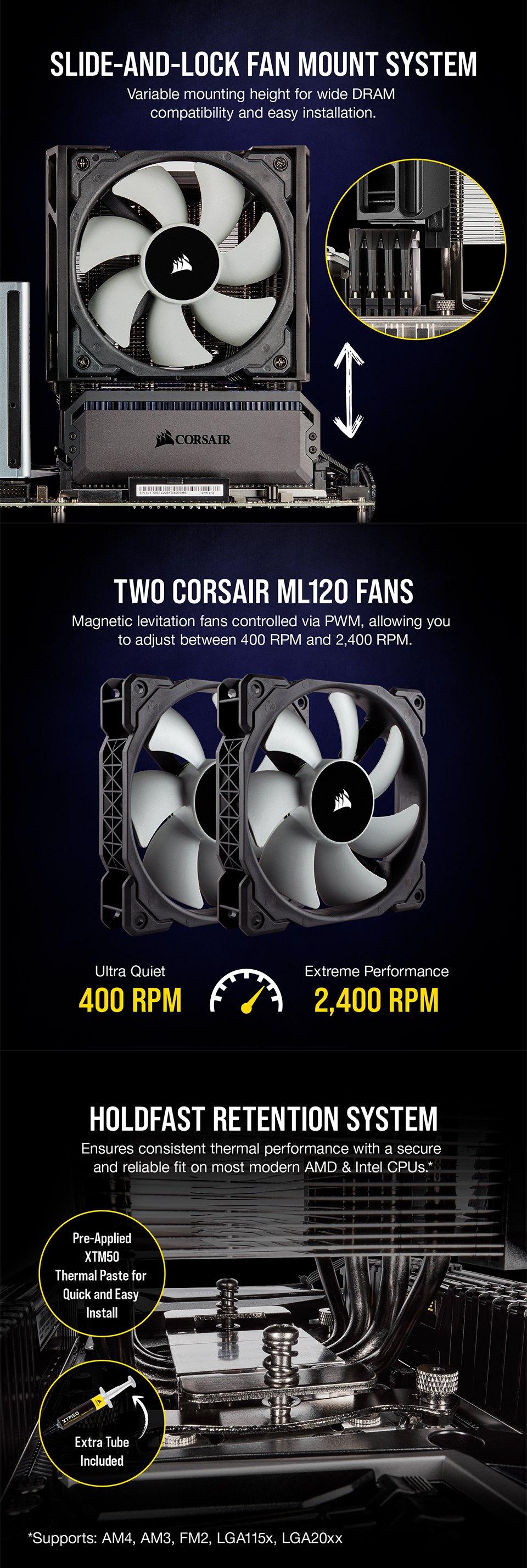 Corsair A500 High Performance Dual Fan CPU Cooler features 2
