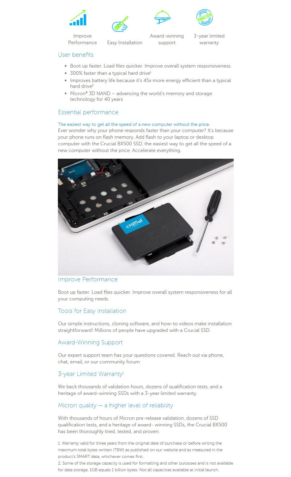 Crucial BX500 2 5in SATA SSD 480GB