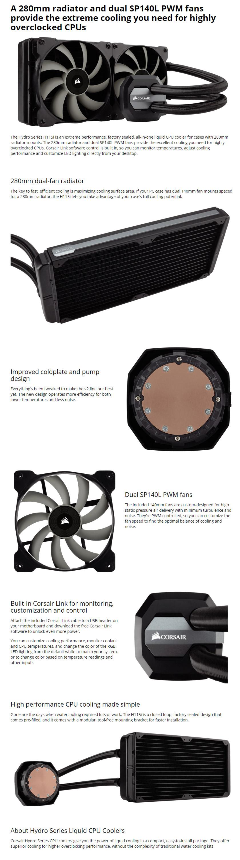Corsair Hydro Series H115i 280mm Liquid CPU Cooler [CW