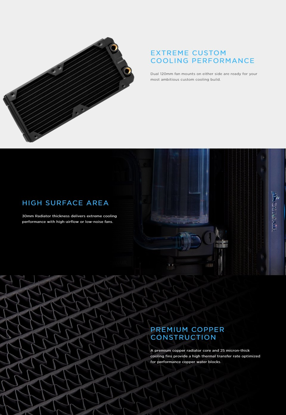 Corsair Hydro X Series XR5 240mm Water Cooling Radiator features