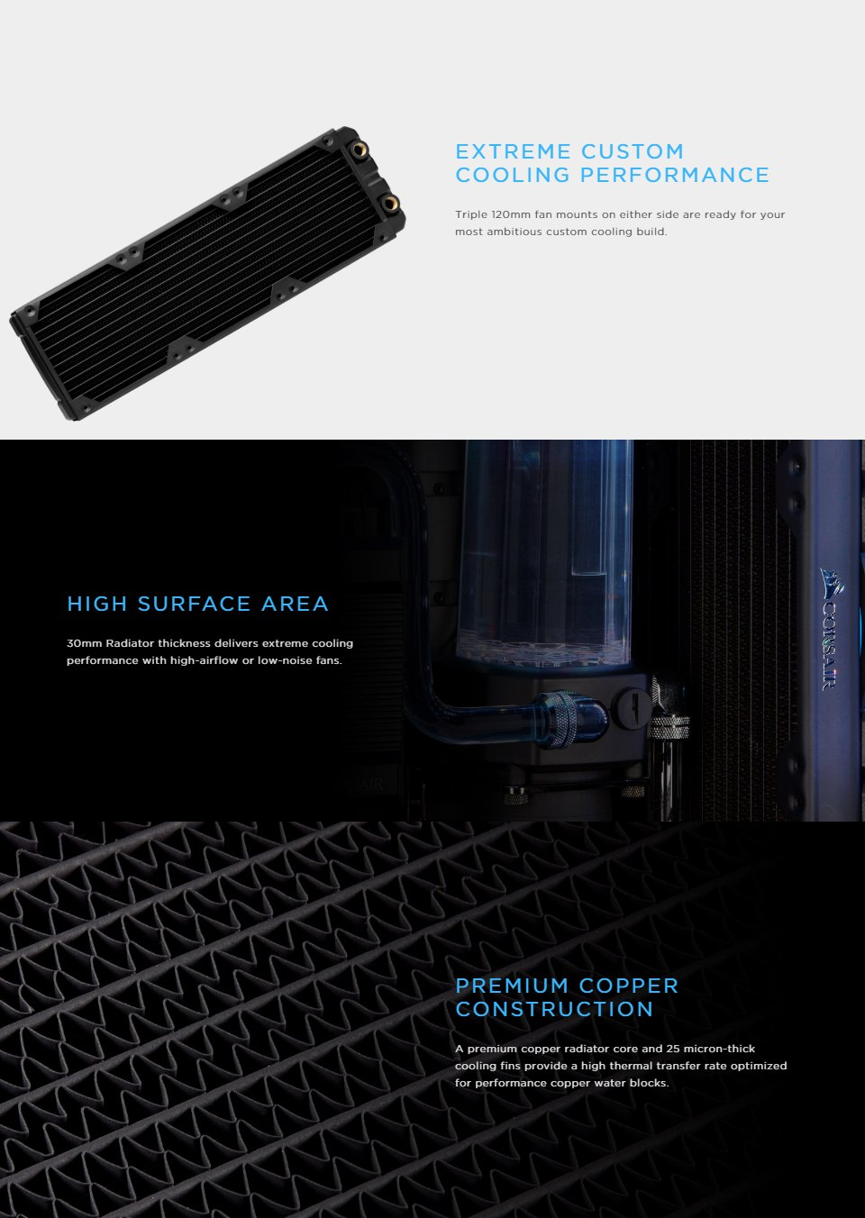 Corsair Hydro X Series XR5 360mm Water Cooling Radiator features
