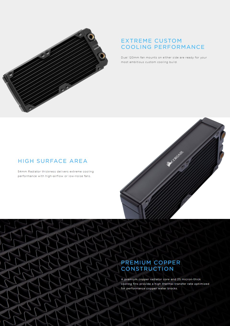 Corsair Hydro X Series XR7 240mm Water Cooling Radiator features