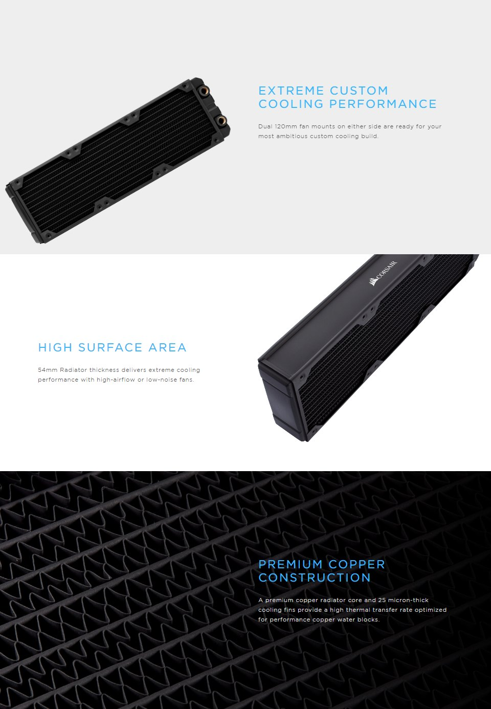Corsair Hydro X Series XR7 360mm Water Cooling Radiator features