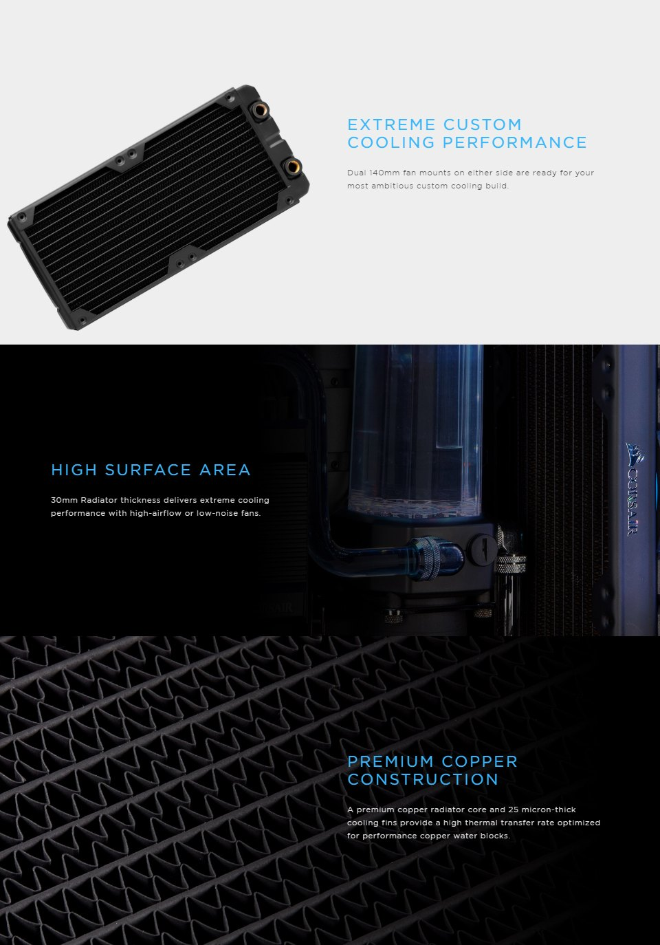 Corsair Hydro X Series XR5 280mm Water Cooling Radiator features