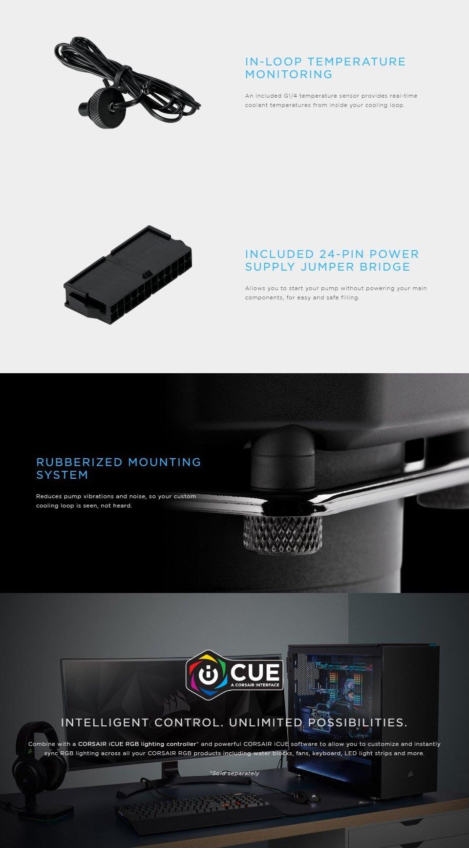 Corsair Hydro X Series XD3 RGB Pump/Reservoir Combo features