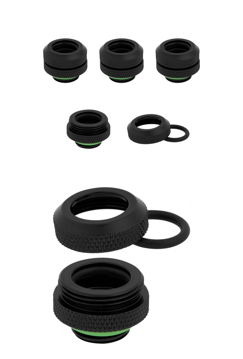 Corsair Hydro X Series XF HL 12mm OD Hard Fittings Black 4 Pack product