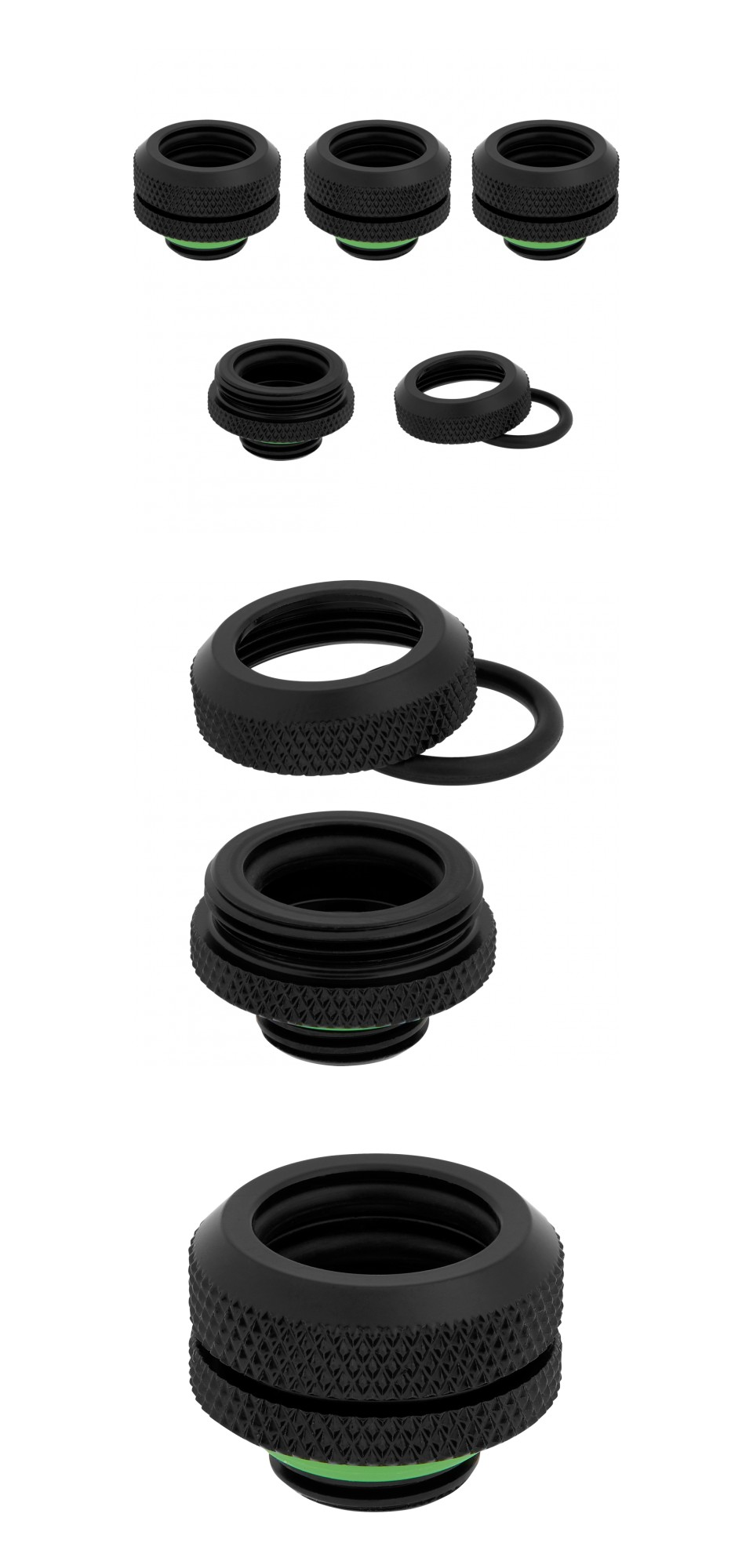 Corsair Hydro X Series XF HL 14mm OD Hard Fittings Black 4 Pack product