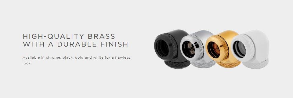 Corsair Hydro X Series XF HL 12mm OD 90 Deg Fittings Black 2 Pk features