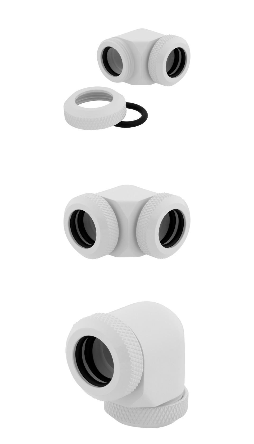Corsair Hydro X Series XF HL 12mm OD 90 Deg Fittings White 2 Pk product