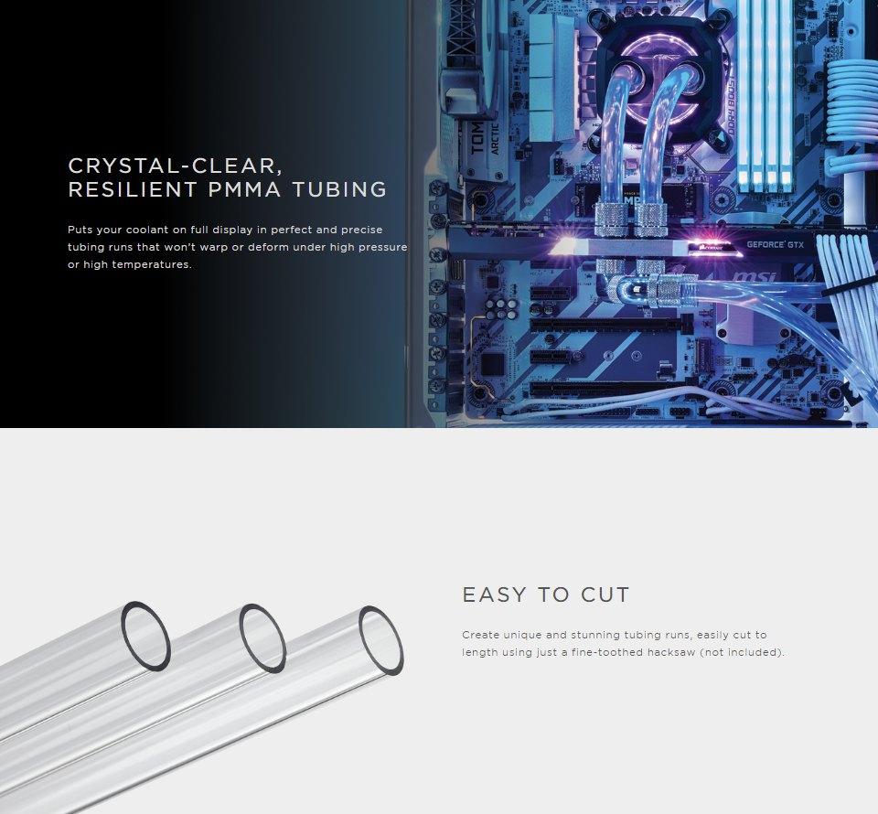 Corsair Hydro X Series XT HL 10/12mm Tubing 1m (3pcs) features