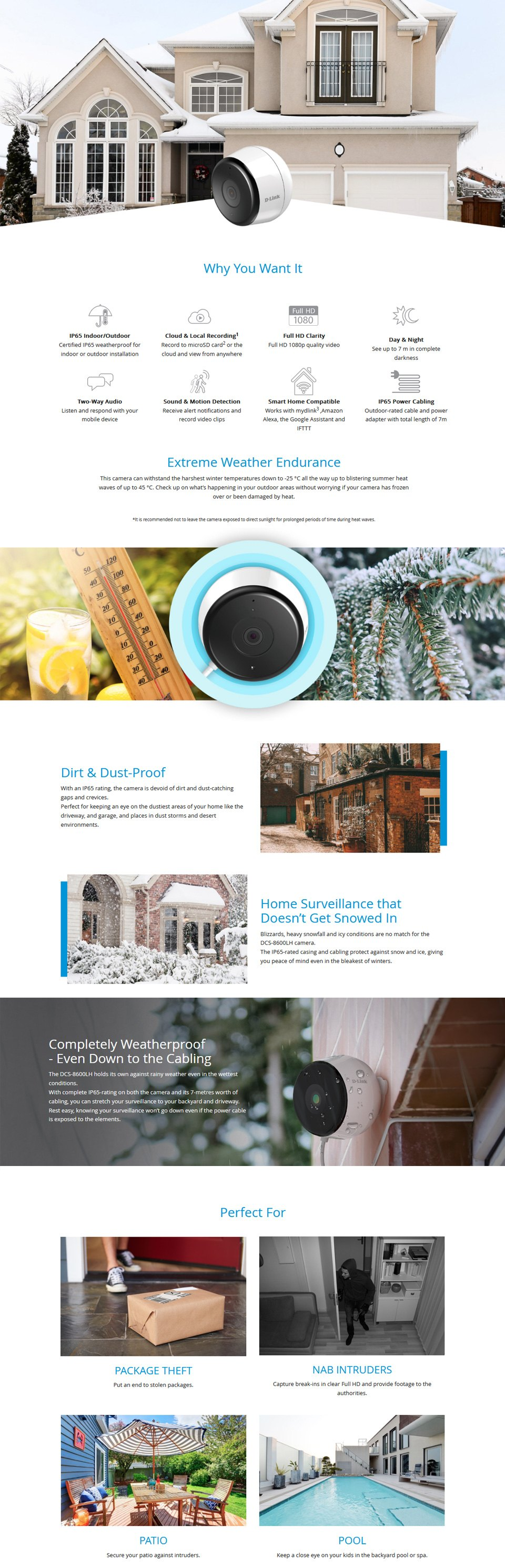 D-Link DCS-8600LH 1080P Outdoor Wireless Camera features