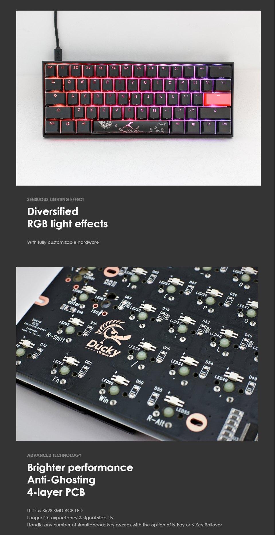 Ducky One 2 Mecha Mini RGB Mechanical Keyboard Silver features 3