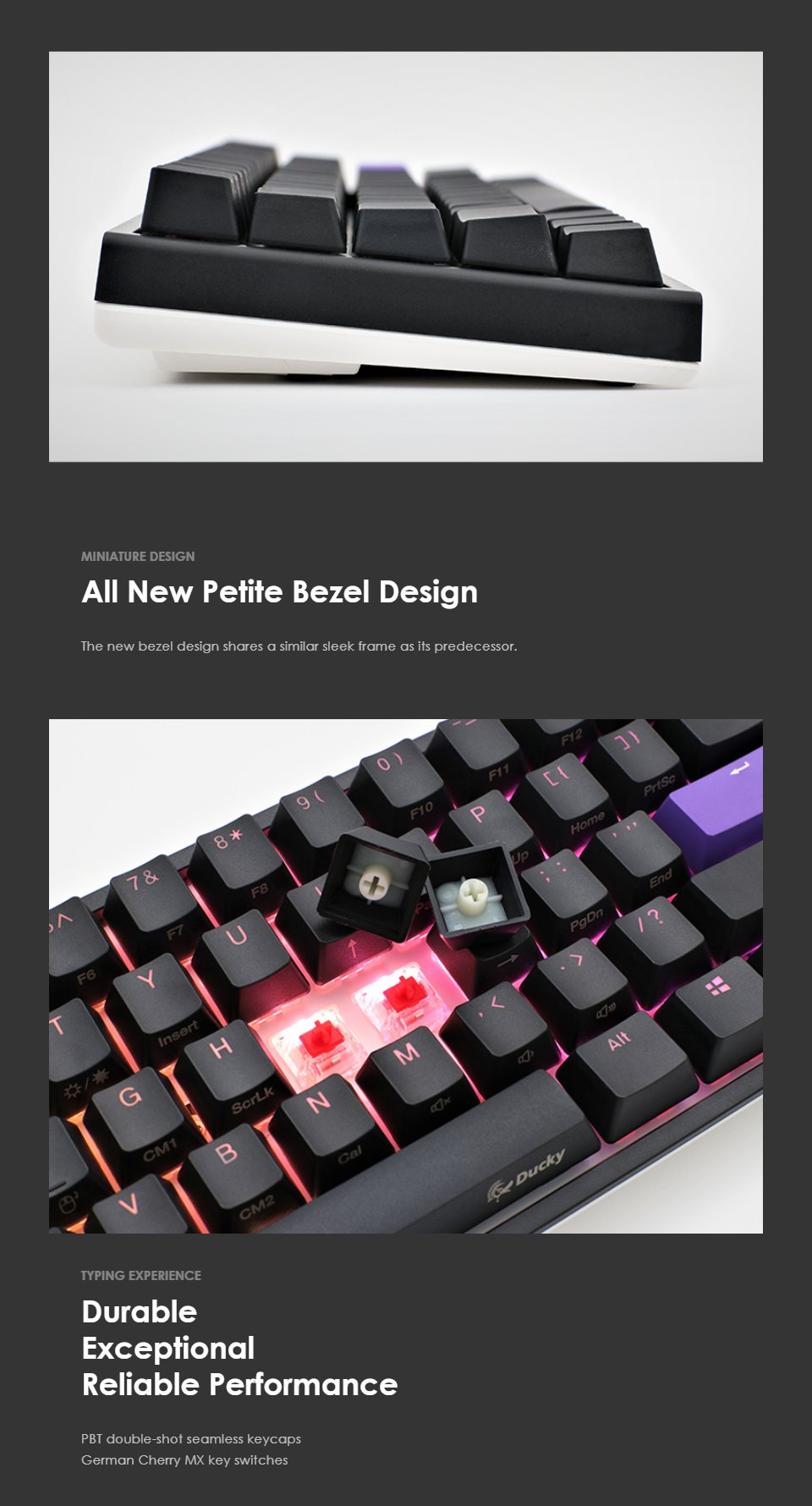 Ducky One 2 Mecha Mini RGB Mechanical Keyboard Silver Red features
