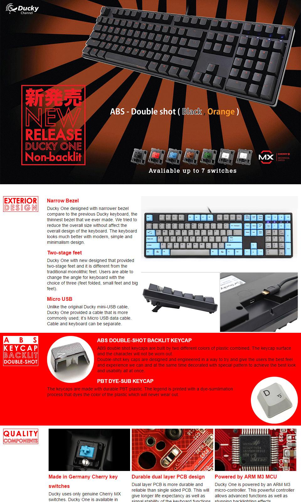 Ducky One Orange Typeface Mechanical Keyboard Cherry Green