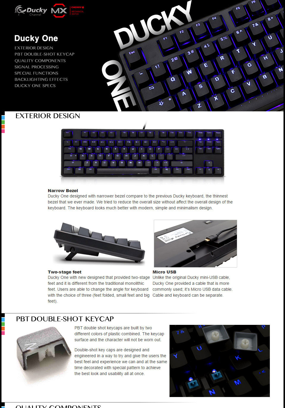 Ducky One PBT DS TKL Blue LED Mechanical Keyboard Cherry Red