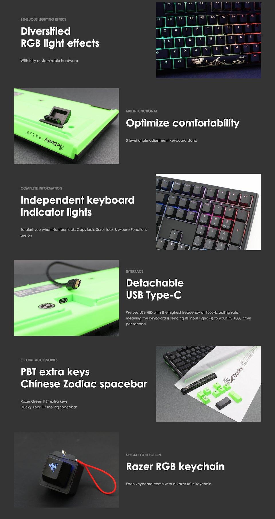 Ducky One 2 Razer Edition RGB Mechanical Keyboard Green features