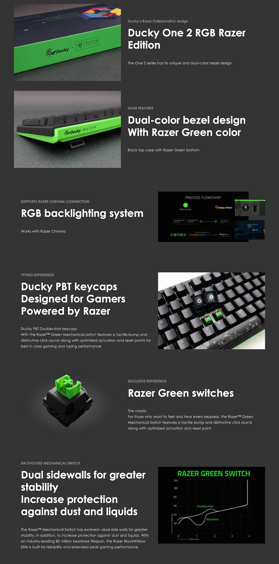 Ducky One 2 Razer Edition RGB Mechanical Keyboard Green features 2