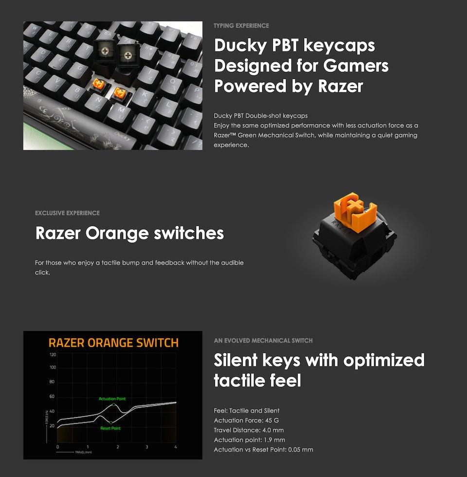 Ducky One 2 Razer Edition RGB Mechanical Keyboard Orange features 2
