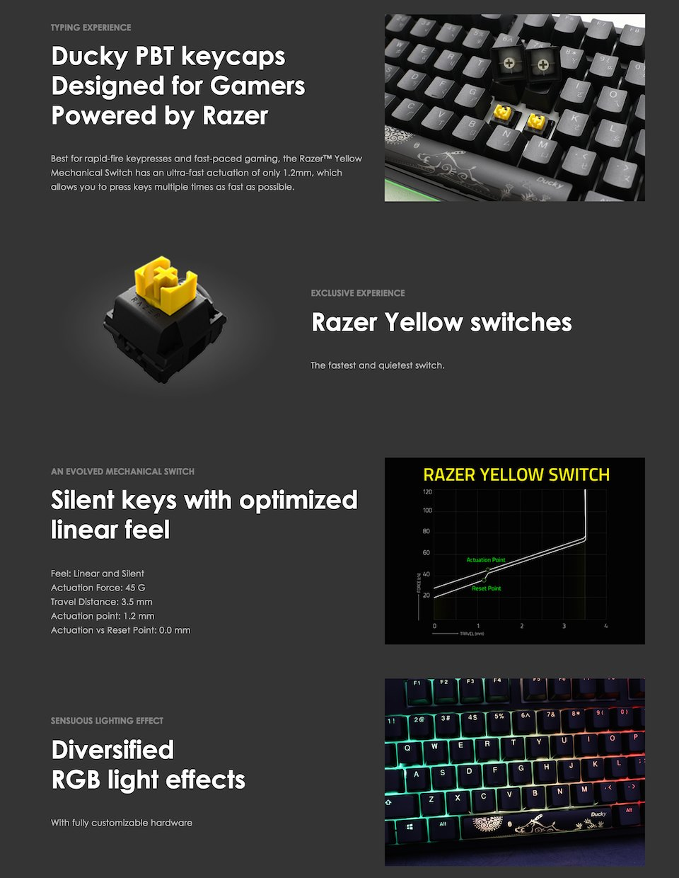 Ducky One 2 Razer Edition RGB Mechanical Keyboard Yellow features