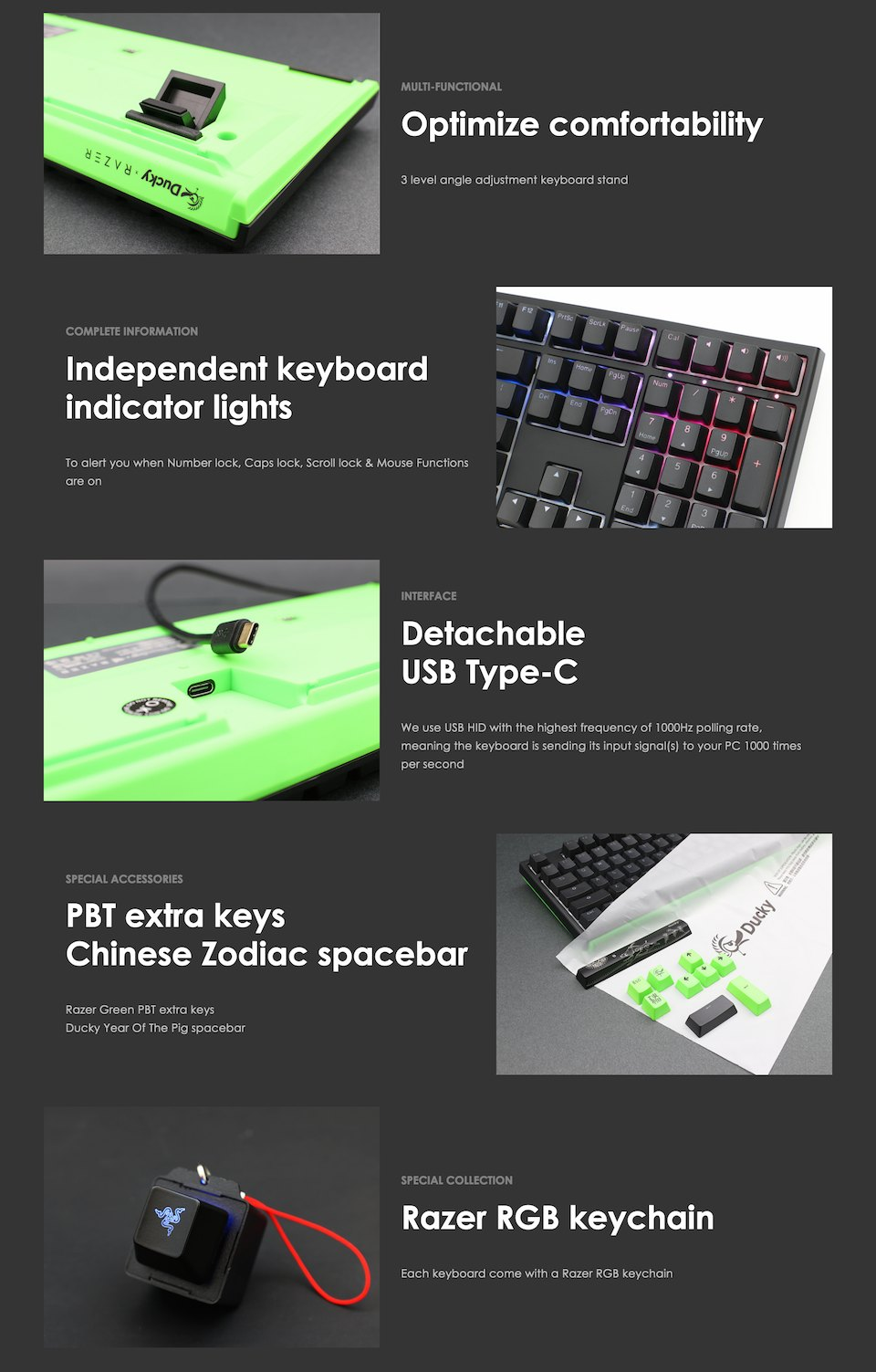 Ducky One 2 Razer Edition RGB Mechanical Keyboard Yellow features 2