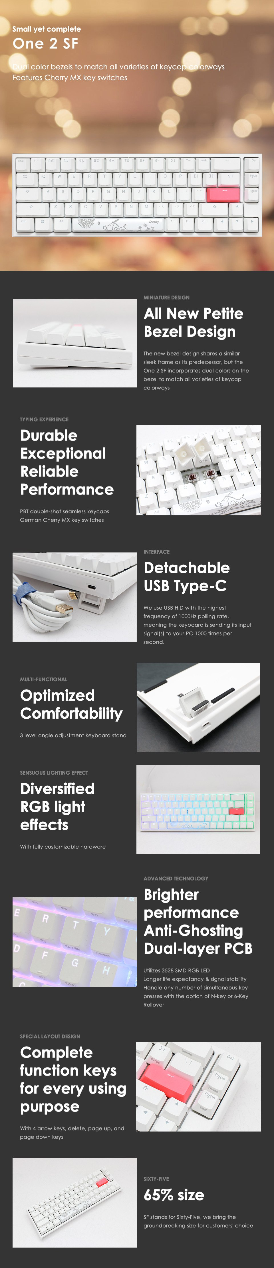 Ducky One 2 SF White RGB Mechanical Keyboard features