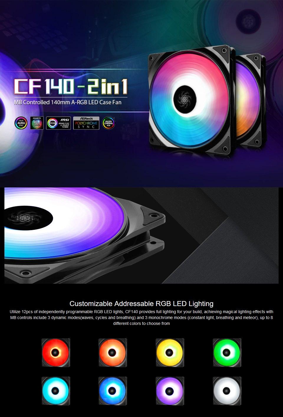 Deepcool CF-120 ARGB Fan 120mm 2 Pack features