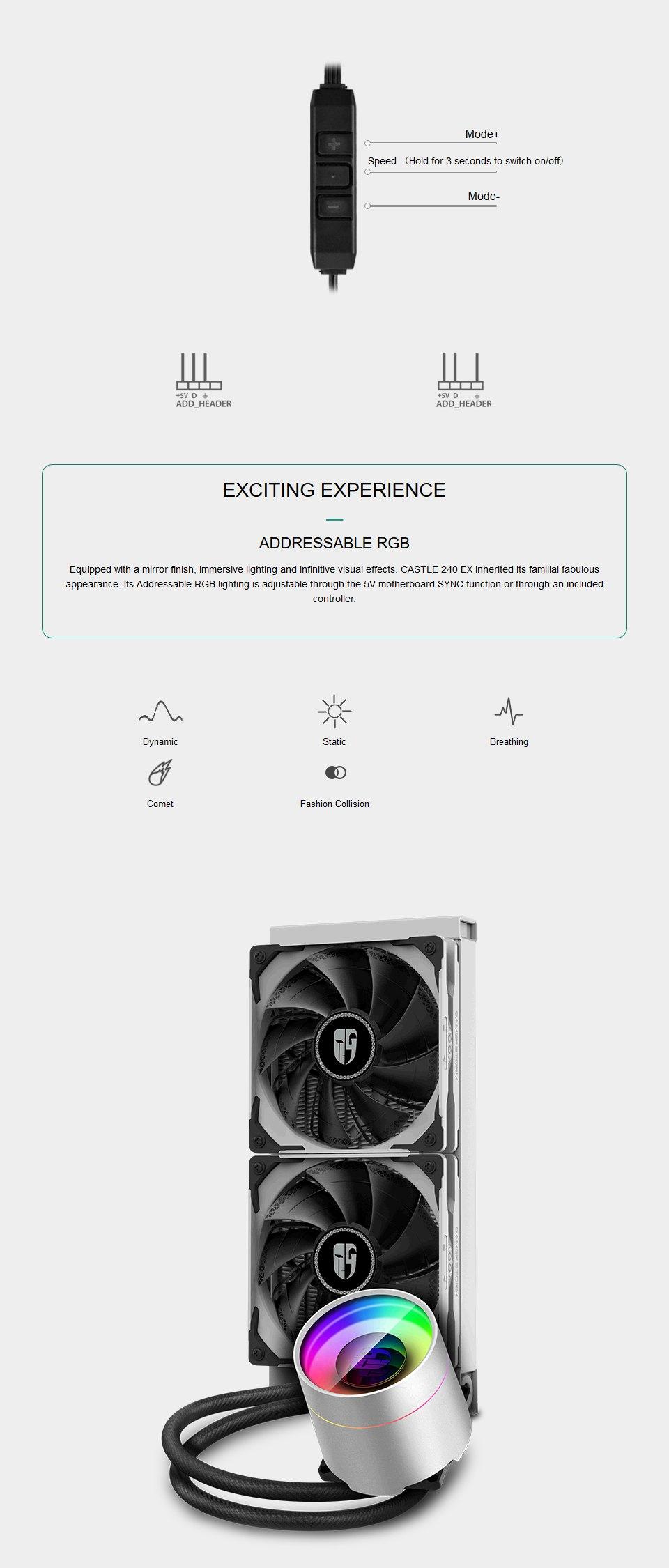 Deepcool Castle 240EX AIO Liquid CPU Cooler White features 4