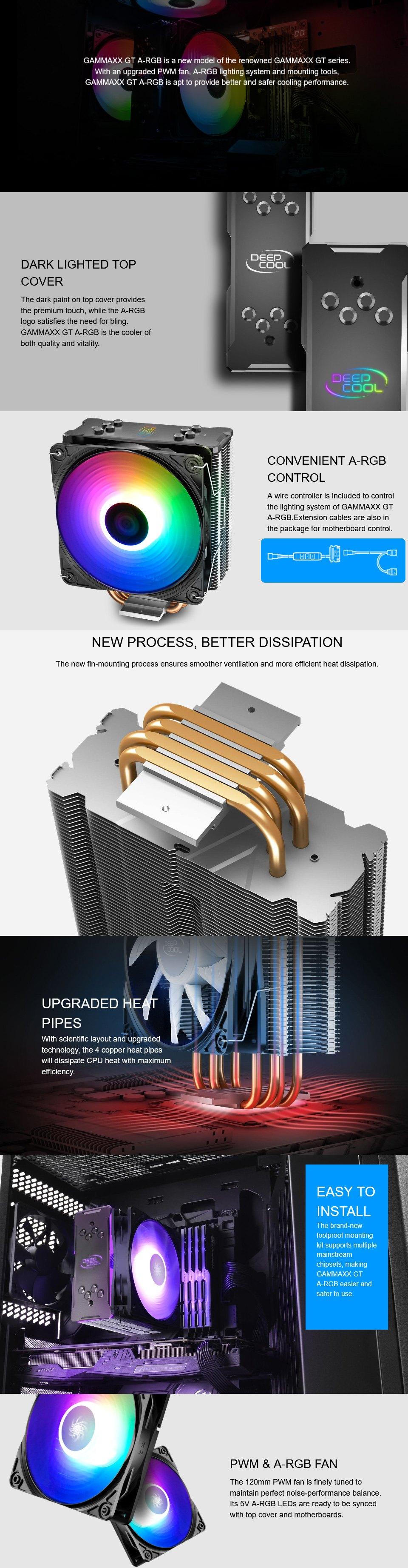 Deepcool Gammaxx GT ARGB CPU Cooler features