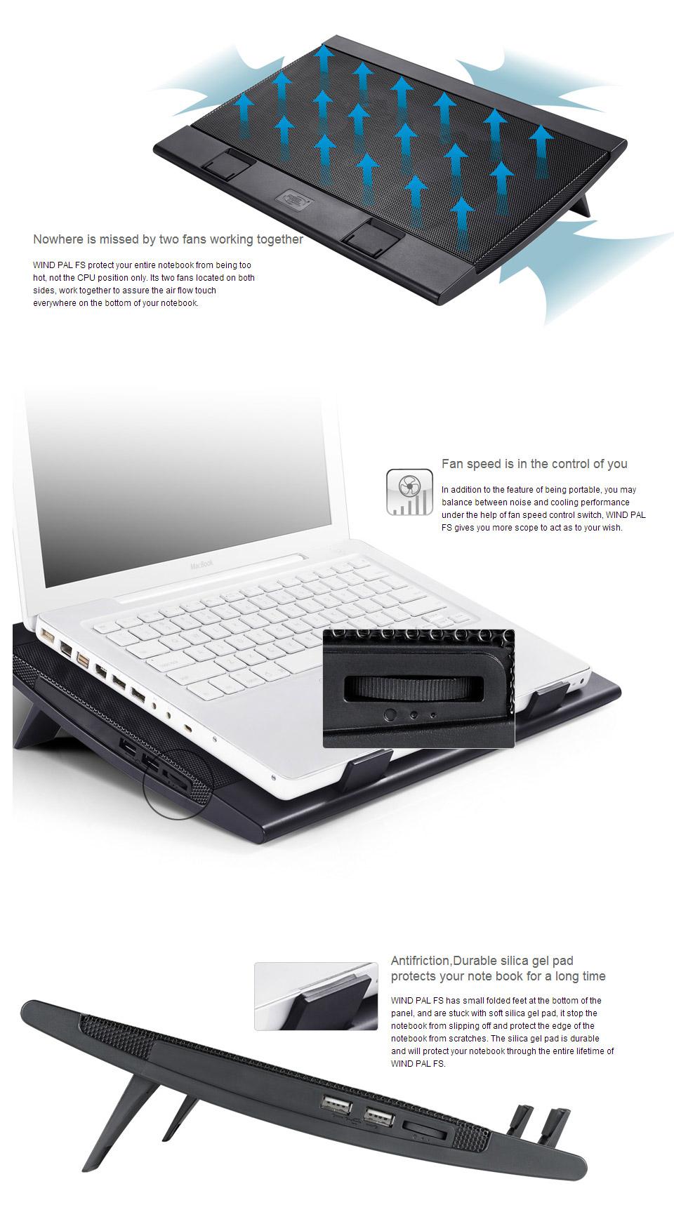 Deepcool Wind Pal FS Notebook Cooler [DP-N222-WPALFS] : PC Case Gear