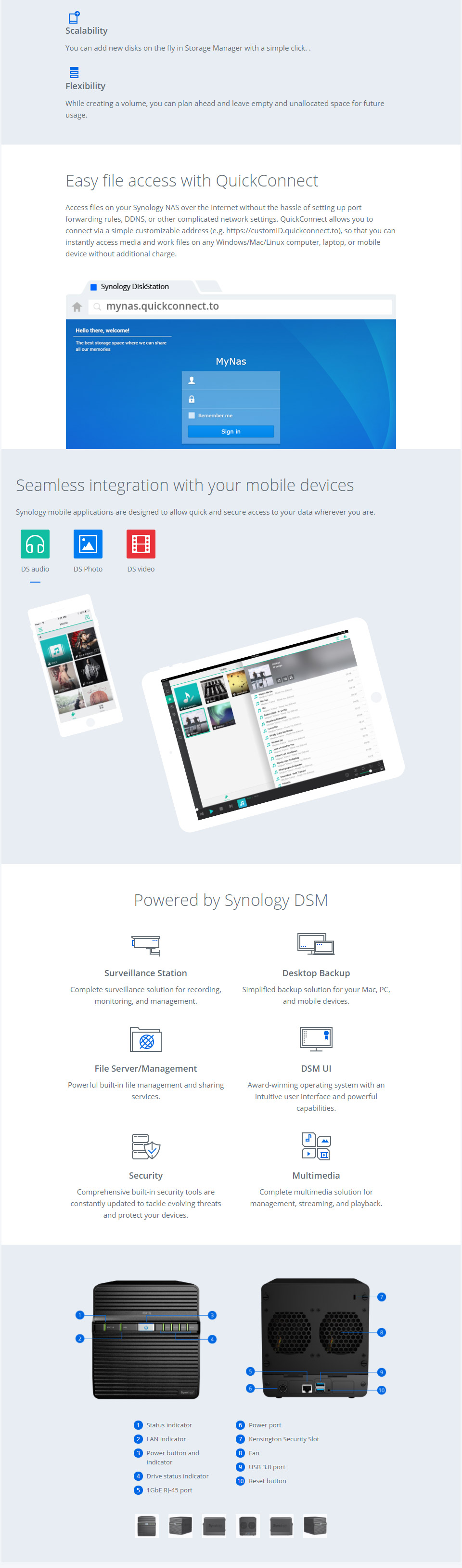 Synology DiskStation DS418J 4 Bay NAS with 1GB RAM [DS418J