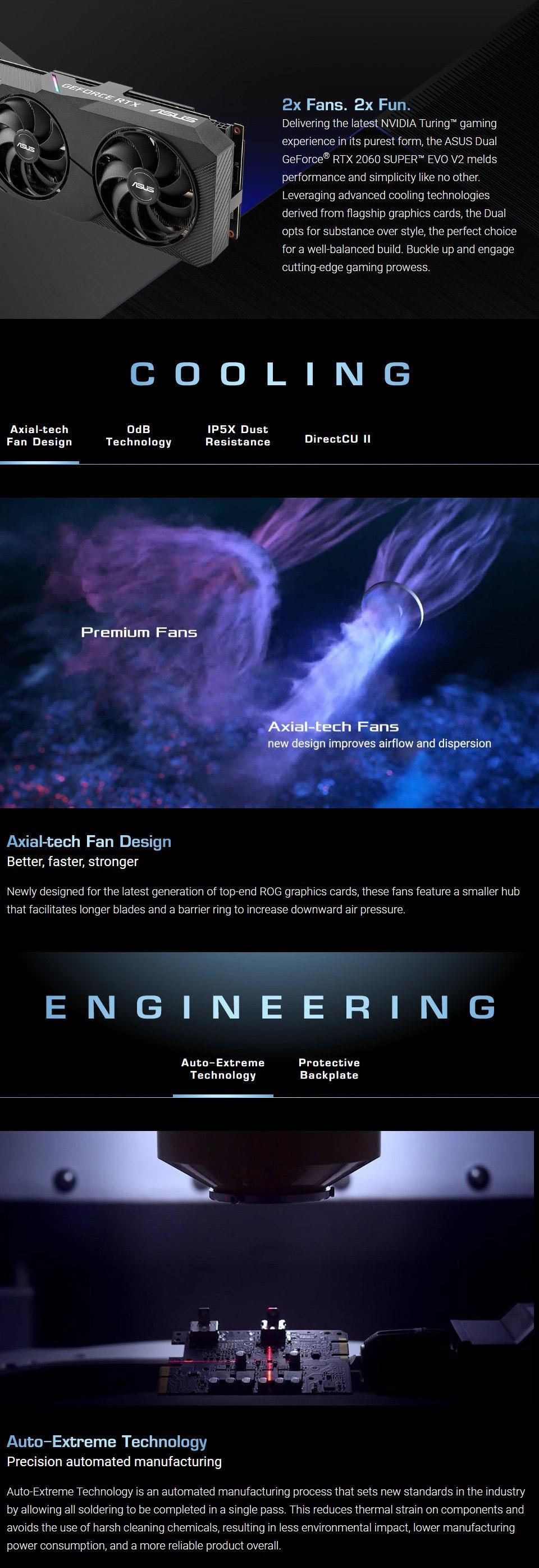 ASUS GeForce RTX 2060 Super Dual OC EVO 8GB V2 features
