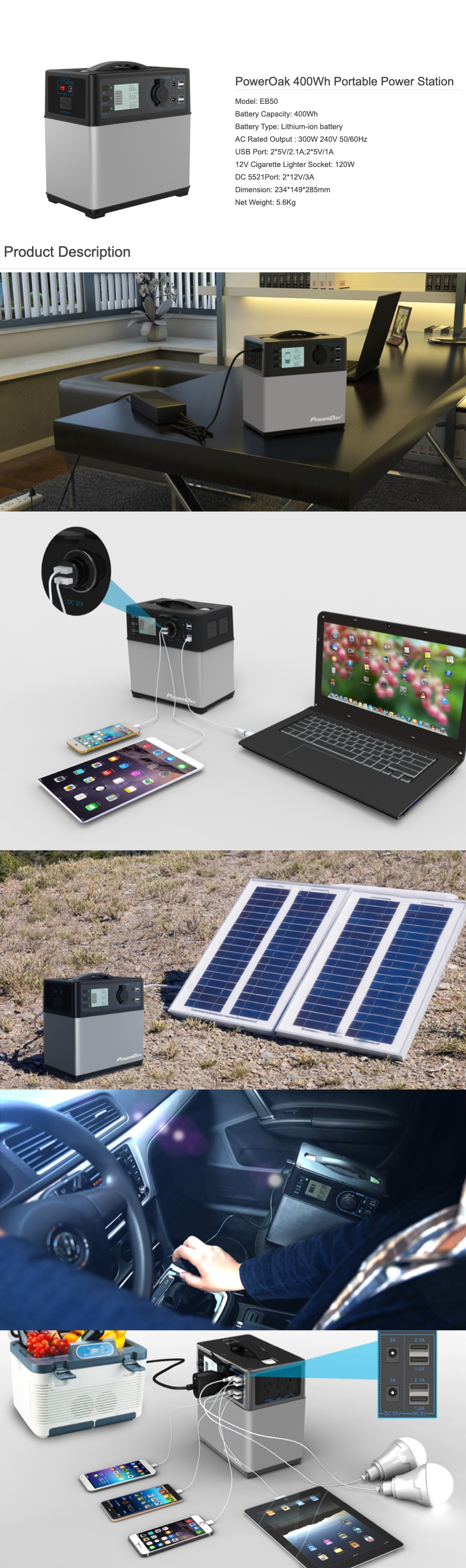 PowerOak EB50 400Wh Portable Power Station features