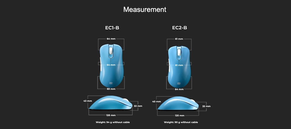 Zowie EC1-B Gaming Mouse Divina Blue features