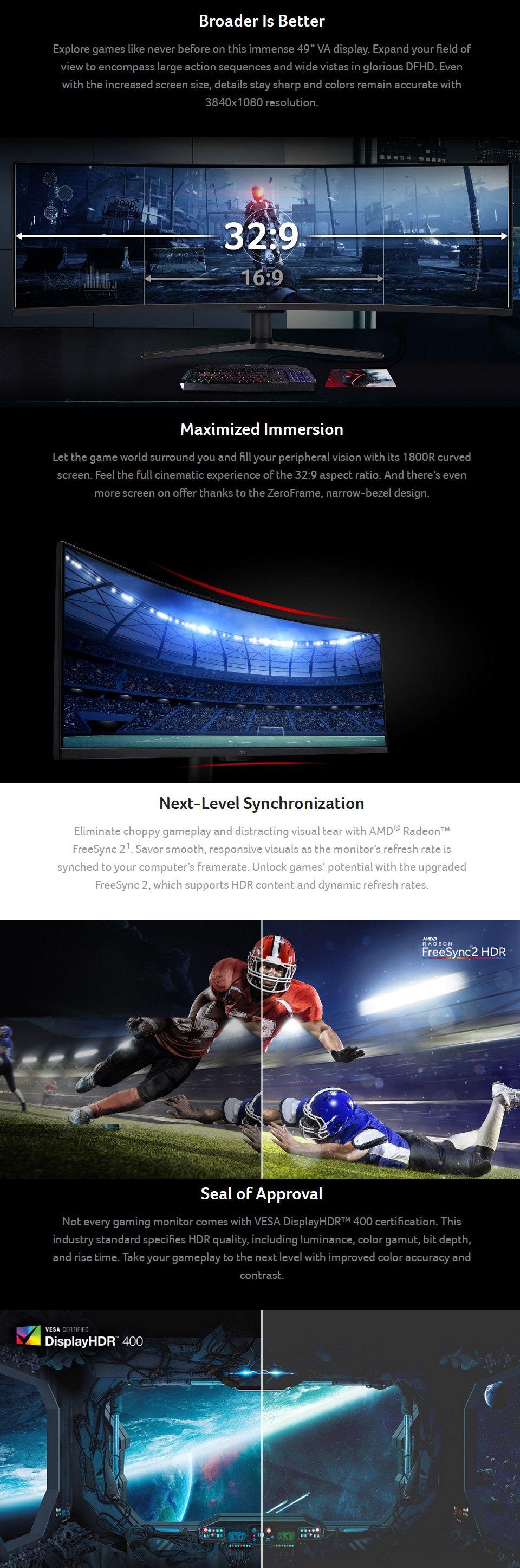 Acer Nitro EI491 49in Monitor features