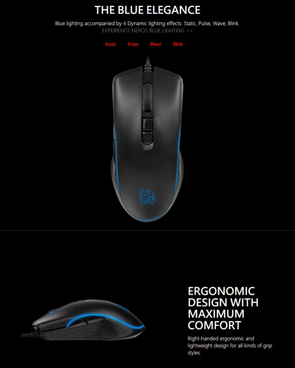 Tt eSPORTS Neros Blu Optical Gaming Mouse features