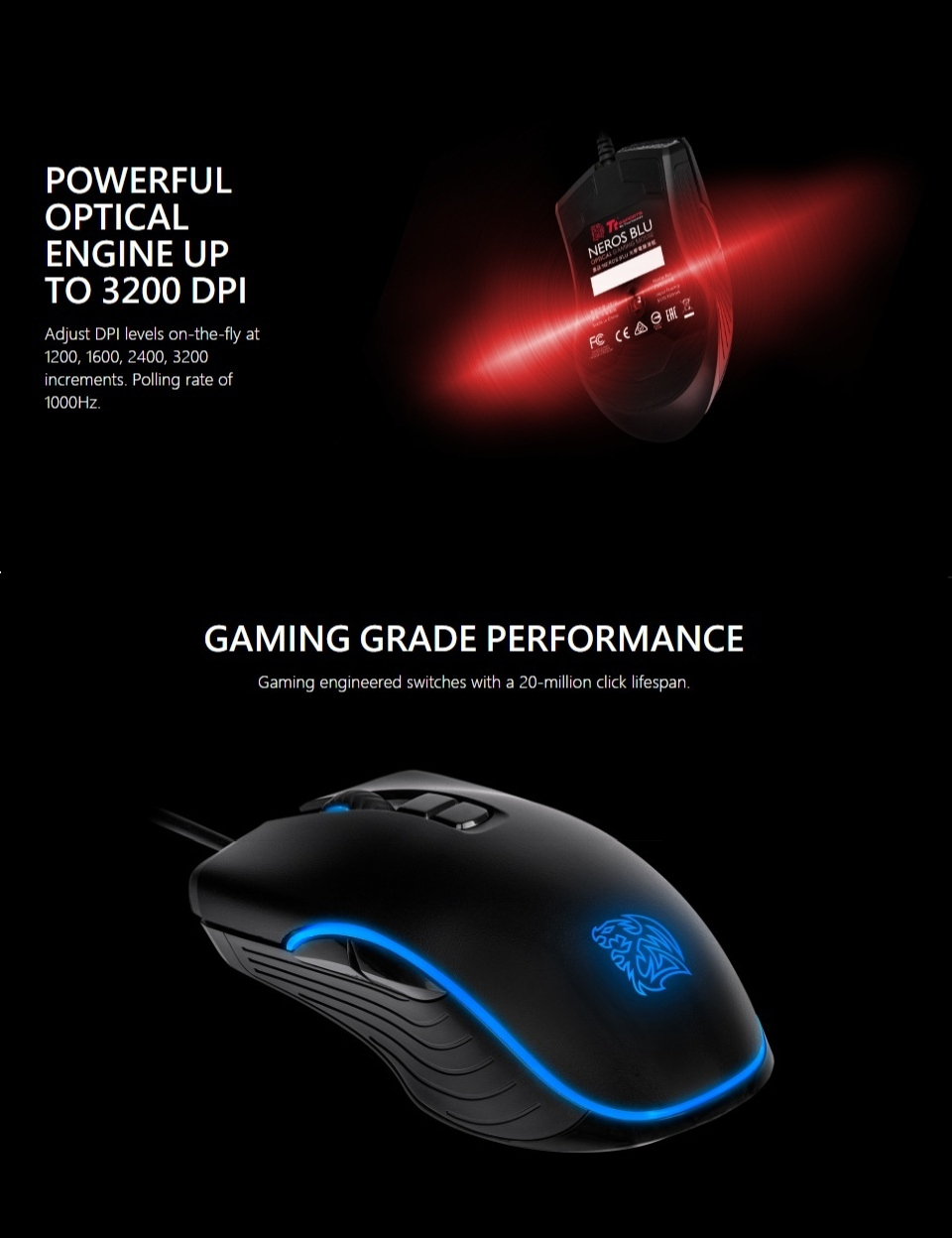 Tt eSPORTS Neros Blu Optical Gaming Mouse features 2