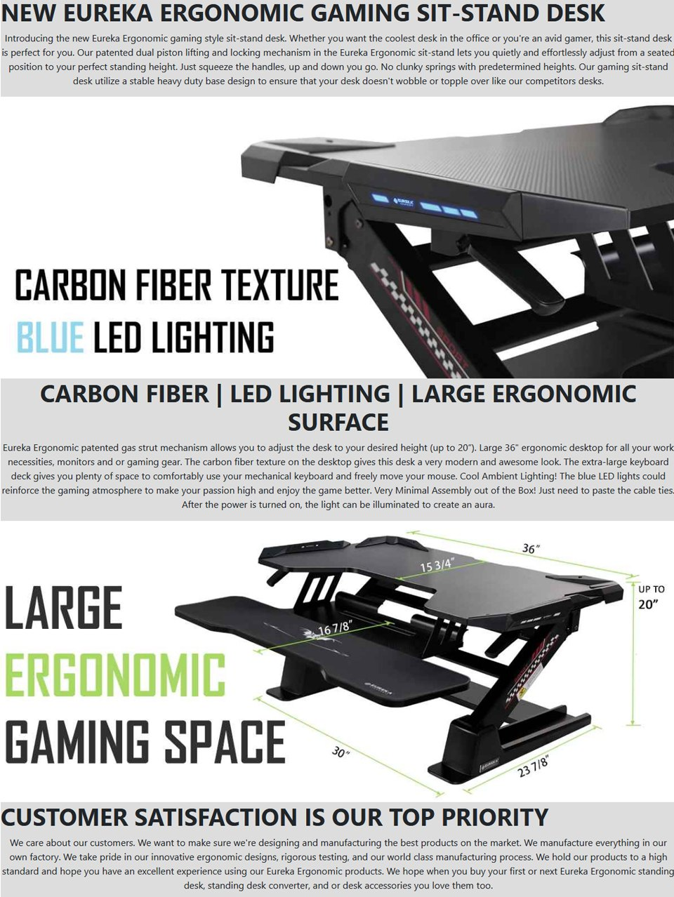 Eureka Ergonomic 36CG Sit-stand Desk features