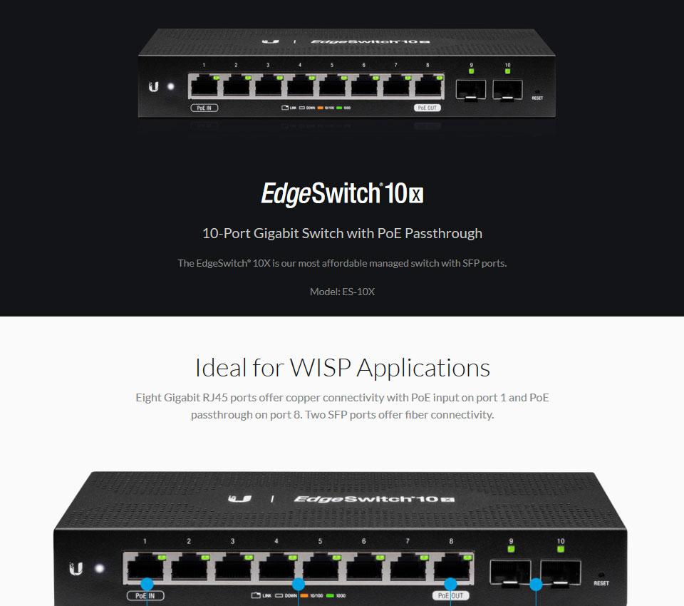 Ubiquiti EdgeSwitch 10x 10-Port Switch with PoE Passthrough