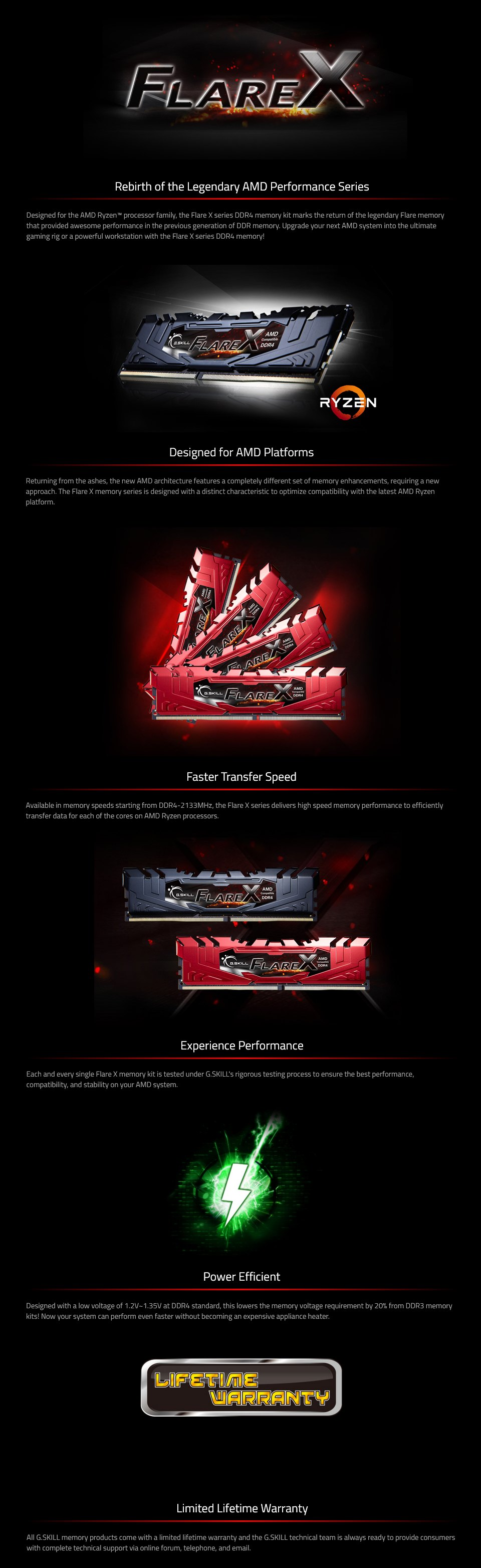 G.Skill Flare X 32GB (4x8GB) 3200MHz CL14 DDR4 features