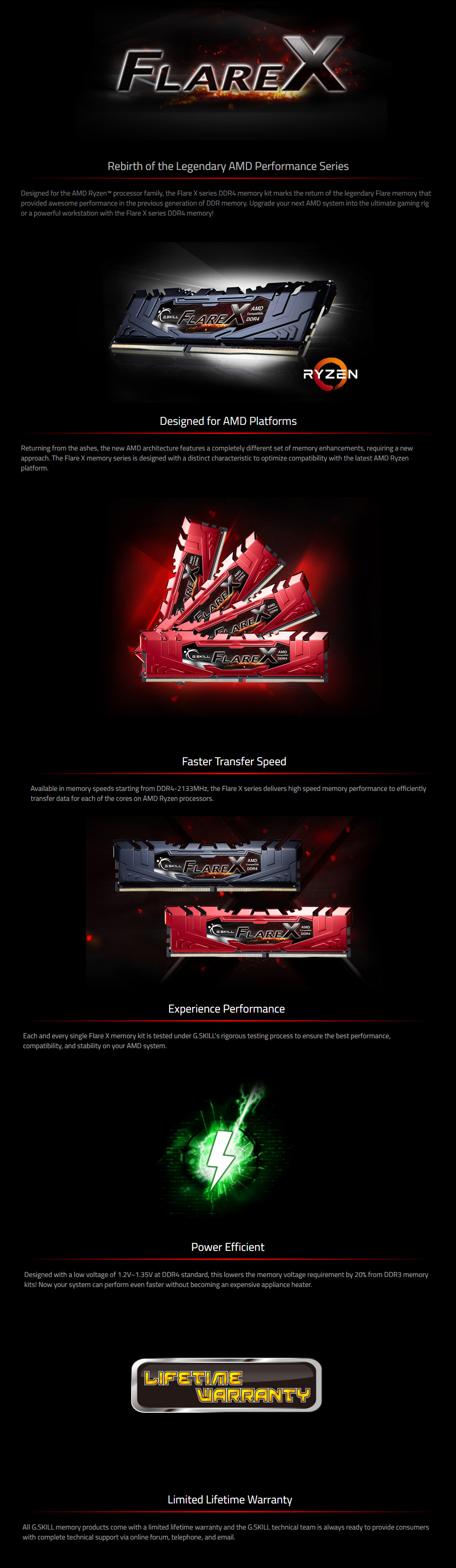 G Skill Flare F4-3200C16D-16GFX (2x8GB) Ryzen DDR4