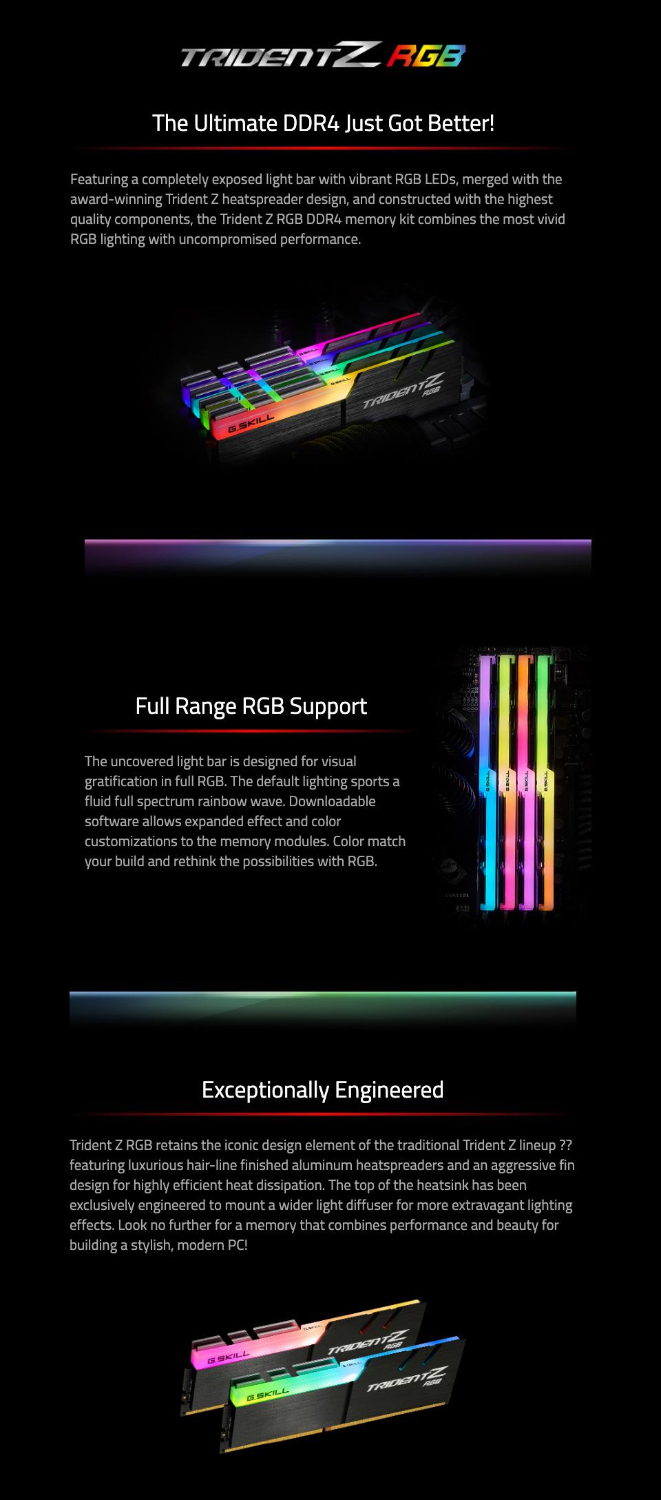 G.Skill Trident Z RGB F4-3600C16D-32GTZR 32GB (2x16GB) DDR4 features
