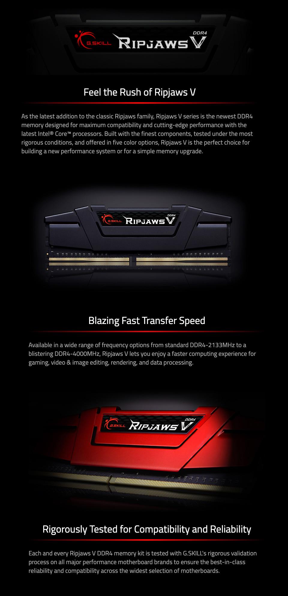 G.Skill Ripjaws V F4-3600C18Q-64GVK 64GB (4x16GB) DDR features