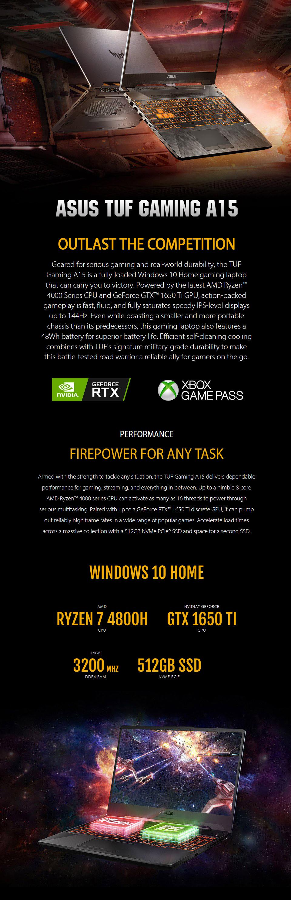 ASUS TUF AMD Ryzen 7 GeForce GTX 1650 Ti 15.6in 144Hz Notebook features