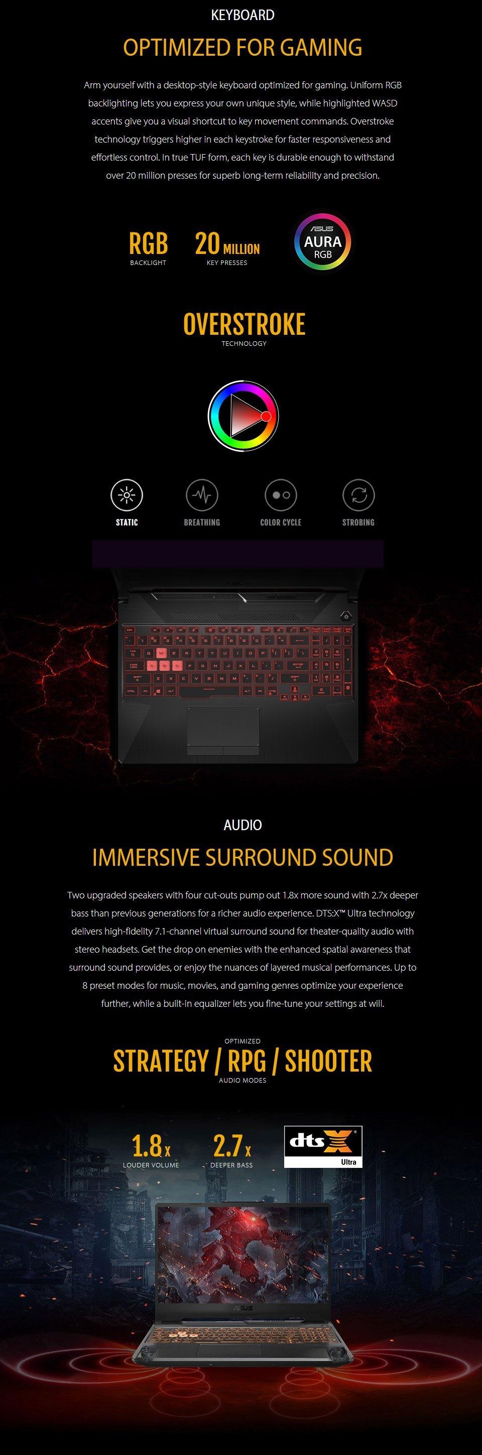 ASUS TUF AMD Ryzen 7 GeForce GTX 1650 Ti 15.6in 144Hz Notebook features 4