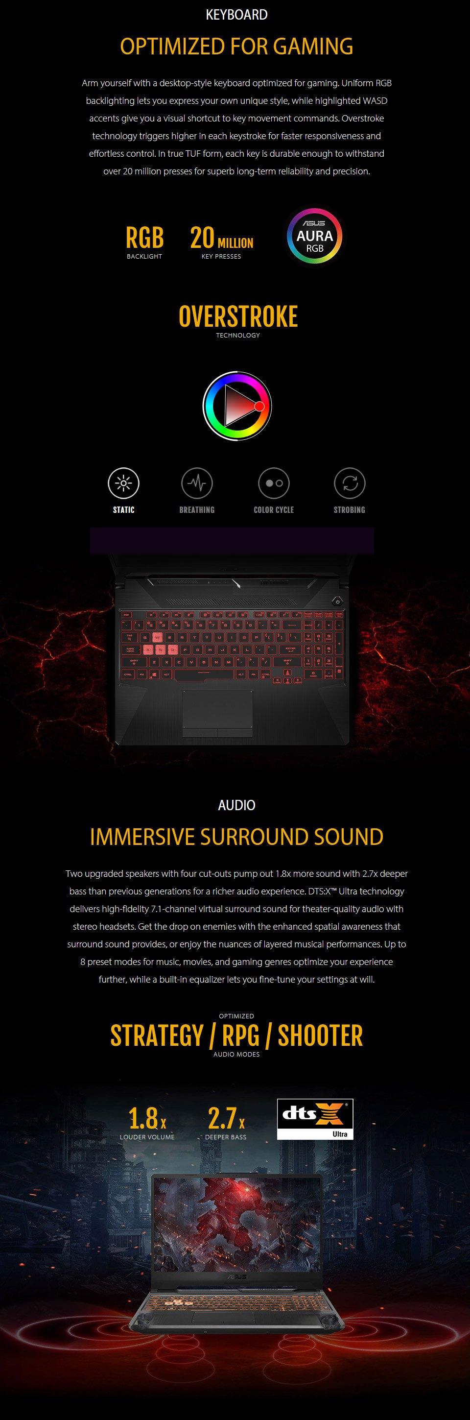 ASUS TUF AMD Ryzen 5 GeForce GTX 1650 Ti 15.6in 144Hz Notebook features 4