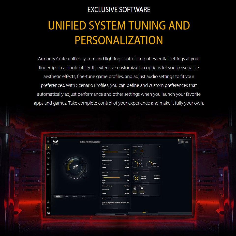 ASUS TUF AMD Ryzen 7 GeForce GTX 1650 Ti 15.6in 144Hz Notebook features 6