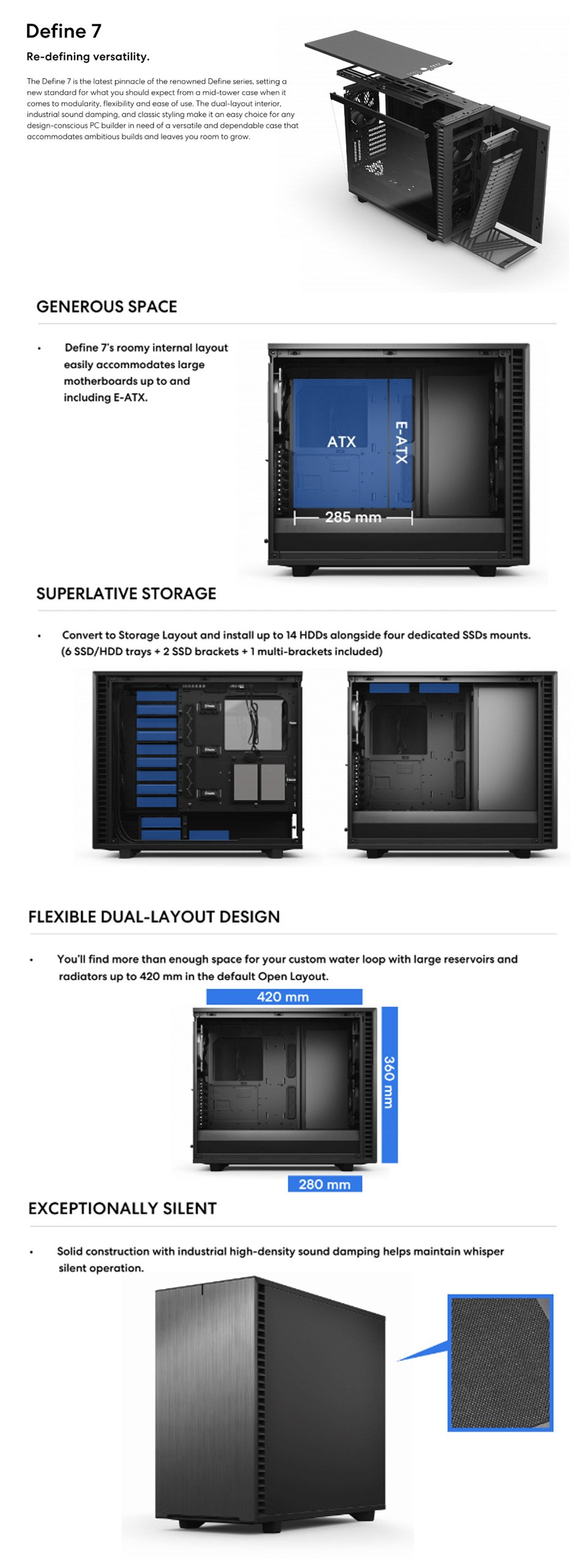 Fractal Design Define 7 Tempered Glass Black features