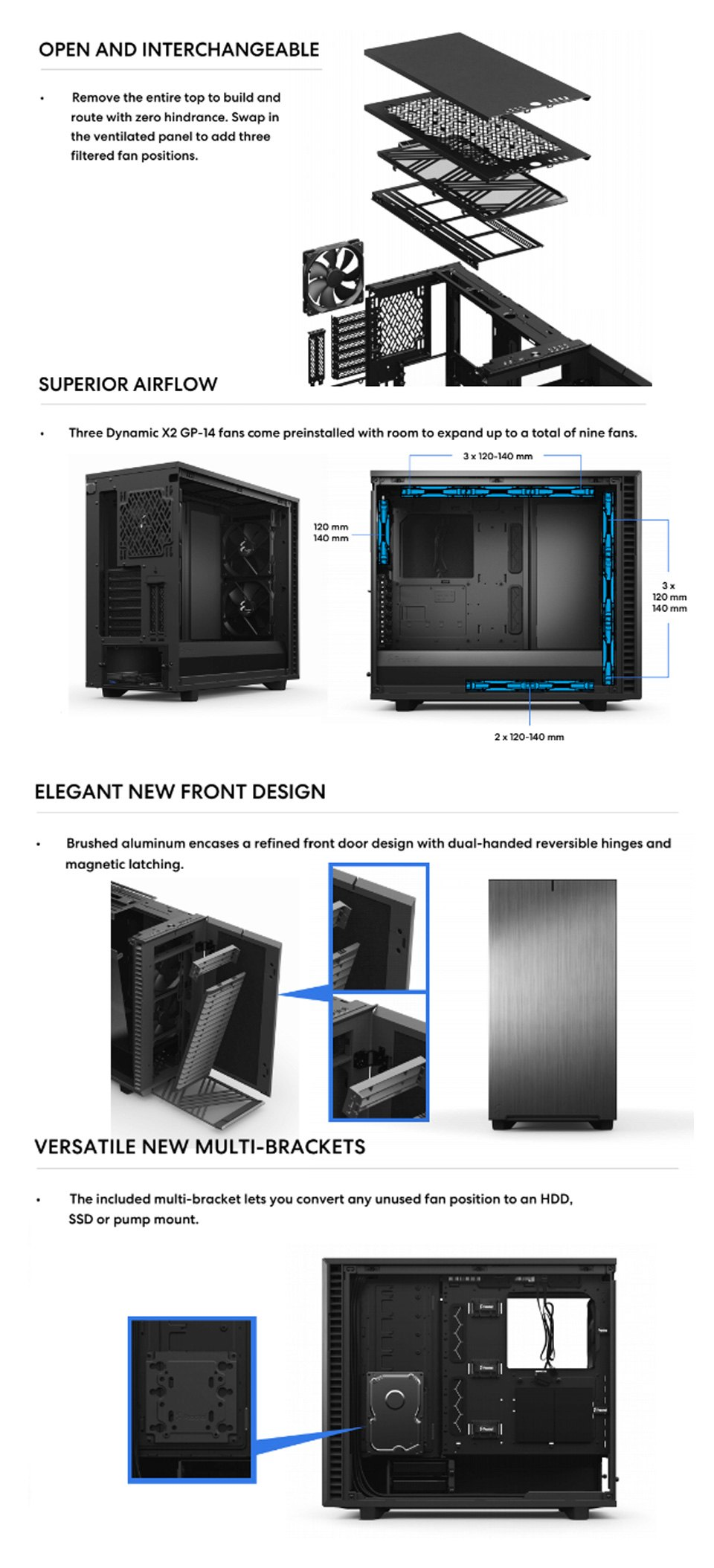 Fractal Design Define 7 Tempered Glass Black features 2