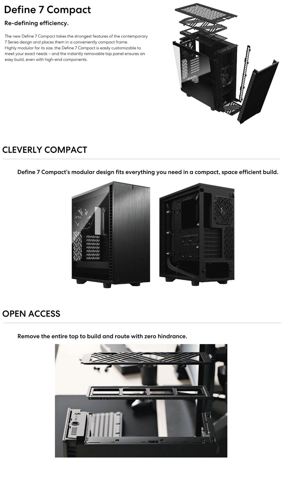 Fractal Design Define 7 Compact TG Dark Tint features