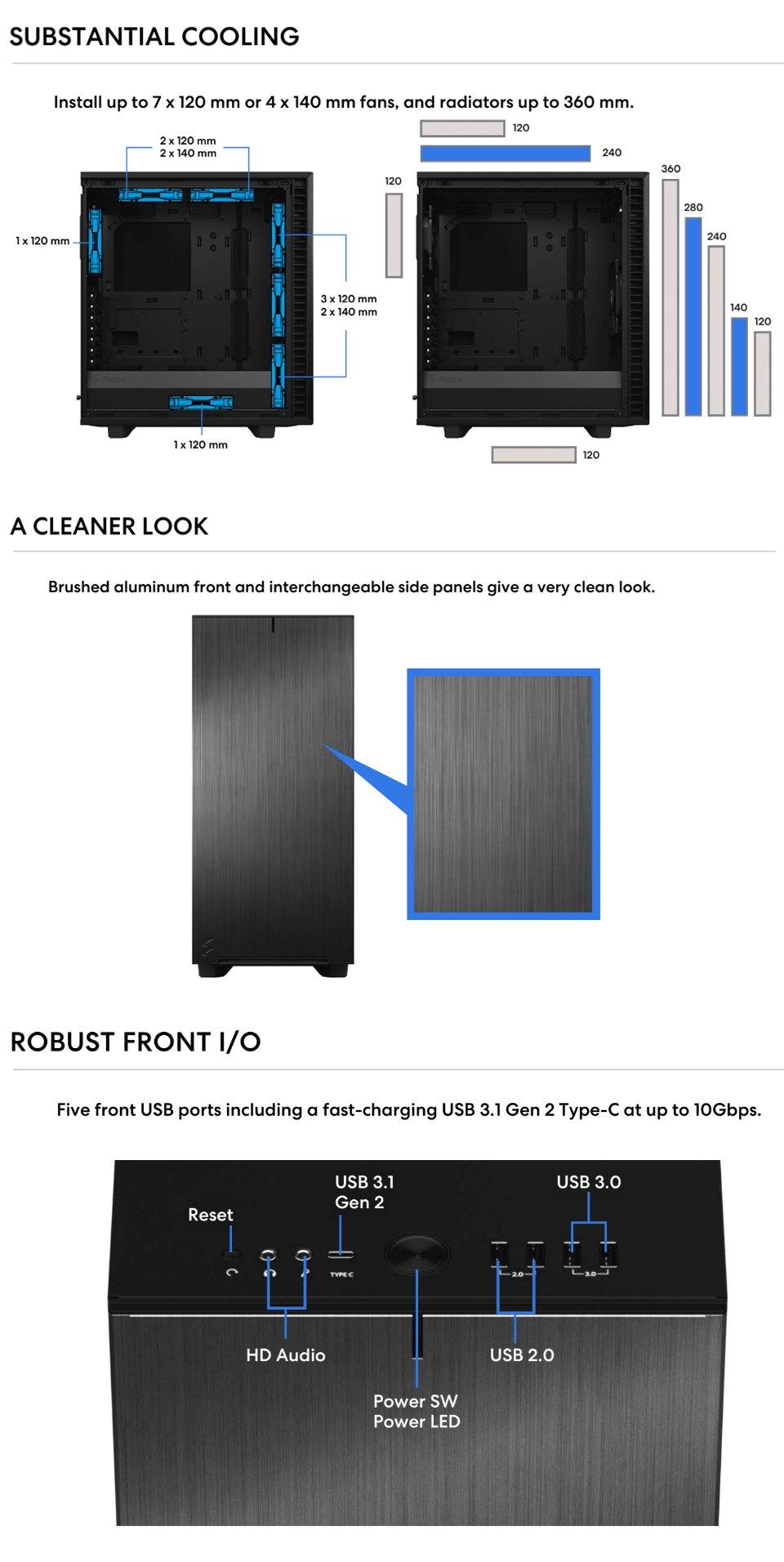 Fractal Design Define 7 Compact TG Light Tint features 3
